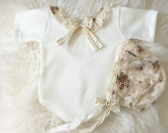 Newborn Ivory Floral Lace Romper and Bonnet Set,  baby, baby girl, romper, newborn clothing, photography prop, bonnet, bow, peach