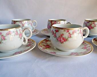 6 Bridal Rose Teacups and Saucers Austria HUB  Fine Porcelain 1920'a