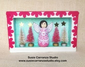Pink Angel Christmas - small wood diorama.  Wood angel, pink with vintage lace. Mini Christmas trees. Glittery pale green, pink, and white.
