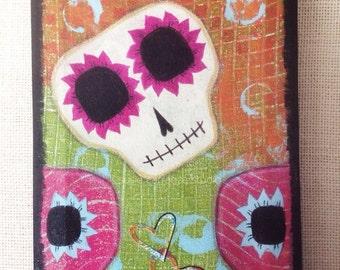 Original Painting - Sugar Skull Smiles. Acrylic paints. Dia de Los Muertos inspired art. Susie Carranza Studio.