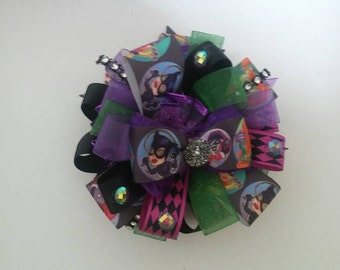 Over The Top Women of Gotham style hair bow with rhinestones