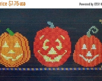 50%OFF Turquoise Graphics & Designs PUMPKIN TRIO Halloween Jack O Lanterns - Counted Cross Stitch Pattern Chart
