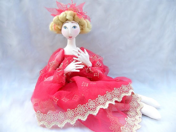 princess fairy ART DOLL red  gold jointed handmade cloth doll  soft sculpture soft doll