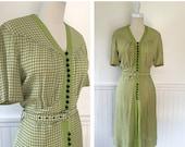 SALE Vintage 1930s Day Dress --> Vintage 30s Dress --> 1930s Dress --> 1930 Dress --> Rayon 30s Dress --> Size Large Vintage Dress
