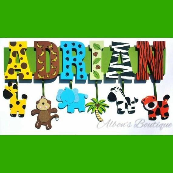 5 LETTER NAME -  Custom Jungle Zoo Safari Themed Name Sign