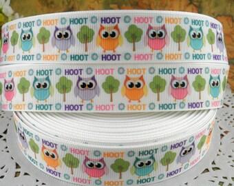 "Owl Hoot 1"" printed grosgrain ribbon for Hairbow"