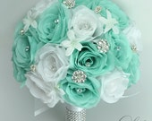 "17 Piece Package Wedding Bridal Bouquet Silk Flowers Bouquets Artificial Flower Bride SPA POOL ROBIN's Egg Blue Aqua ""Lily of Angeles TIWT01"