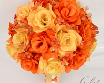 """17 Piece Package Wedding Bridal Bouquet Silk Flowers Bouquets Bride Maid Groom Autumn Fall Fire ORANGE YELLOW WHITE """"Lily of Angeles"""" YEOR01"""