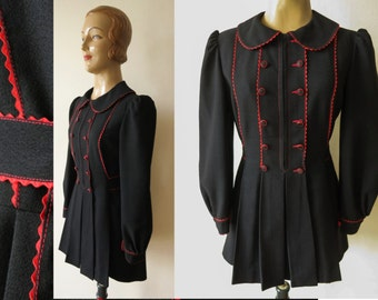 vintage black red ric rac trim PEPLUM JACKET with puff sleeves and peter pan collar 1970s does 1940s 70s 40s revival short coat size s