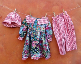 Vintage 1980s Girl's Cotton Gingham Floral Outfit. Matching Dress Bloomers and Hat. Full House Olsen twins. 2T 24 months