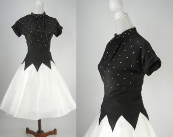 1950s Vintage Style Black and White Silk Party Dress