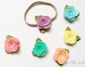 Springtime Rose Headband - Felt Rose on Nylon Headband - Fits Newborn through Big Kid