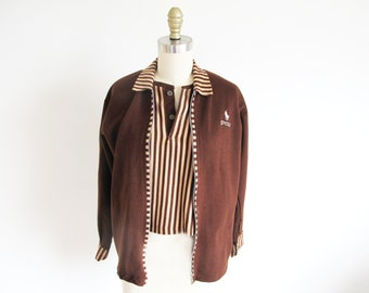 Vintage 70s, Ralph Lauren Shirt, 1970 Polo Shirt, Brown Knit Shirt, Vintage Polo