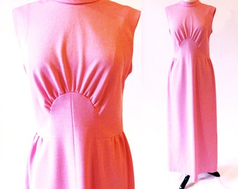 70s Pink Maxi Dress , 1970 Long Pink Polyester Gown, Pink Dress