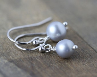 SALE 40% OFF - Simple Sterling Silver Gray Pearl Earrings - Wedding Bridal Jewelry - Bridesmaids Gift - Womens Jewelry Gift for Her
