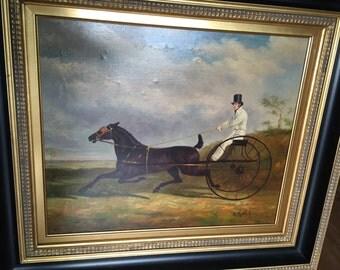 Antique c1900 Folk Art Horse and Cart Rider Oil Painting / GRafael