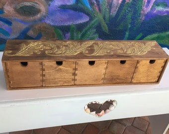 Walnut Stained Tongue & Groove Birch Woood Storage Cabinet /Box ~ Gold Gesso Leaves