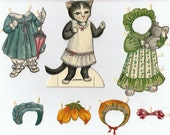 Adorable Girl Kitty Cat Paper Doll with 6 Costumes Scrapbooking Decoupage Media Arts Journals Paper Art