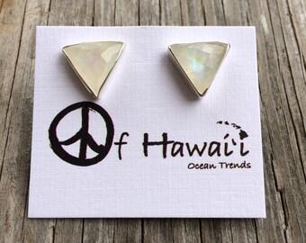 Moon Stone Stud Earrings Hand Bezel Set in 14Kt Gold Vermeil & Sterling Silver by Peace of Hawaii Ocean Trends Co.
