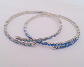 Pair of Prong Set Blue Rhinestone Wrap Bracelets