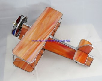 Stained Glass Airplane Kaleidoscope ~ Bi-Plane Salmon Coral  Kaleidoscope ~ Handmade USA ~ Pilots ~ Unique Gifts ~ Fun Beautiful View