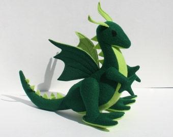Emerald Dragon Fantasy Plush, Wool Felt ~ Handmade Natural Stuffed Animal Toy, Eco Friendly Kids Gift, Green Dragon, Earthy, Waldorf Dragon
