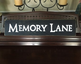 MEMORY LANE Sign Plaque Wood HP Great for Photo Collage and Gallery Wall Groupings U Pick Color Wooden Hand Painted