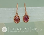 Rose Gold Ruby Dangle Earrings Vintage Style Cabochon Ruby Earrings