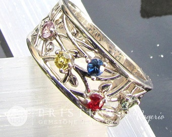 Five Stone 14k Gold Family Ring For Mother Price Will Vary Depending on Gemstones Made to Order