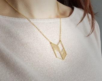 Geometric chevron triangle necklace