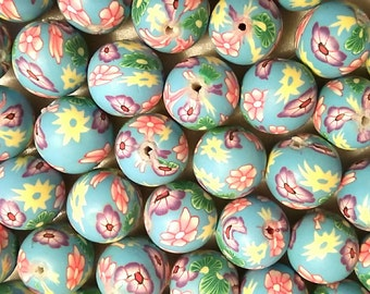 20 Fimo Polymer Clay Round Beads Skyblue pink purple White flowers beads 12mm