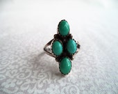 Sterling silver and turquoise ring/ vintage Navajo Native style four stone turquoise ring size 7.5/ southwestern boho bohemian ring