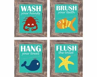 Kids Bathroom Wall Art Ocean Animals Set