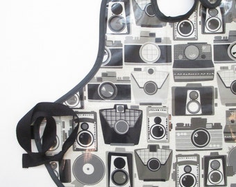 Art Smock in Vintage Cameras--Designer Michael Miller Fabrics--Size 6 and Up--CPSIA Compliant--Ready to Ship