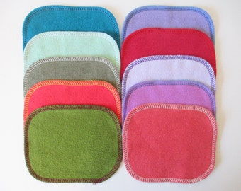 Reusable Cloth Wipes--Mini Size--Makeup Removal--Set of 10--Solids Mix--Ready to Ship
