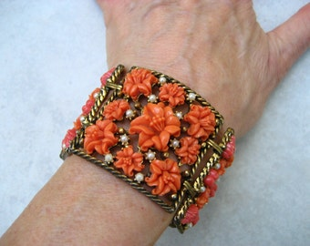 Vintage Celluloid Wide Bracelet Earrings Set Faux Coral Lilies Faux Pearls Panels