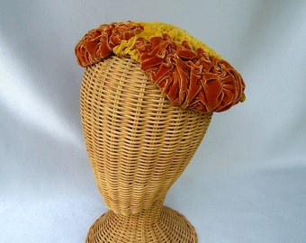 Vintage Ladies Hat Velvet Close Hat Pumpkin Orange Rust Bernice Charles