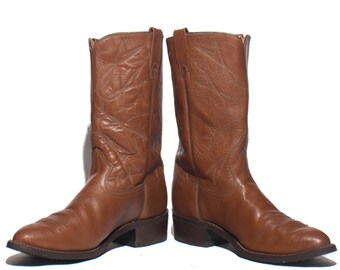 13 EE   Texas Brand Brown Water Buffalo Cowboy Boots Western Moto Boots