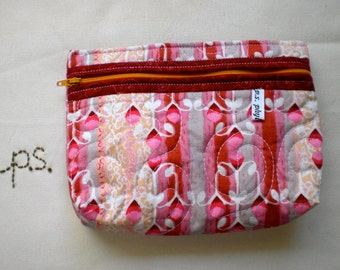 Classic Quilted Pink Cosmetic Pouch/ Optional Wristlet