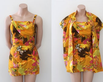 vintage 1950s swimsuit // 50s yellow orange Hawaiian romper and jacket set