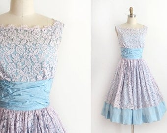 vintage 1950s party dress // 50s blue and lace prom dress