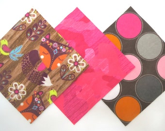"""36 Cotton Flannel 6""""x6"""" Pre Cut Quilt Square Kit in a Bundle of Fox in the Woods, Bright Pink Camo and Large Dot Prints"""