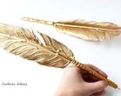 GOLD Feather pens,  Wedding pen, Gold Feather, Ball point pen, gold Guest book pen, Feather Pen Gold, Rustic Wedding pen, Handmade pen