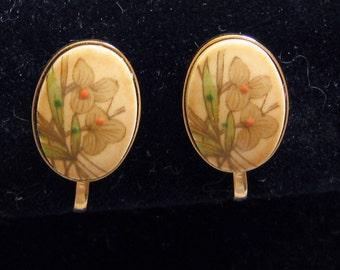 Handpainted Porcelain Clip On Earrings, Petite, Vintage