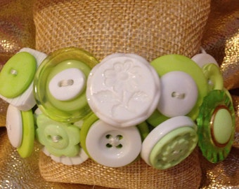 Lime and White Button Bracelet