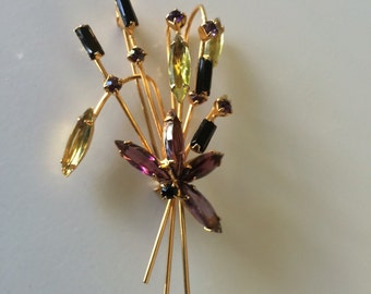 Lovely 1960's Rhinestone Bouquet Brooch