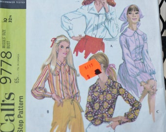 Sewing Pattern Three Blouses 1960s Long Sleeves Button Cuffs McCalls 9778