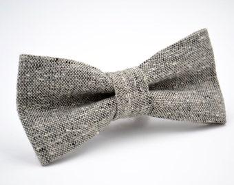 Mens Bowtie in Gray Tweed