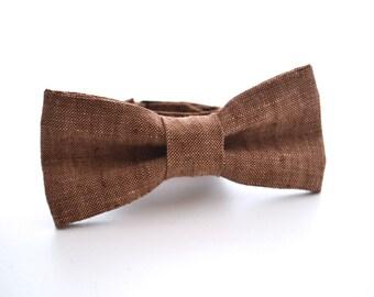 Children's Bowtie in Brown Linen, Ring Bearer Bow Tie, Brown Bow Tie, Wedding Bow Tie, Rustic Wedding, Adjustable Bow Tie