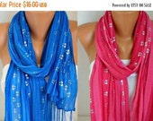 Royal Blue &Hot Pink Sequin Tulle Scarf Shawl Cowl Scarf Bridesmaid Gift Bridal Accessories Gift Ideas for Her Women Fashion Accessories